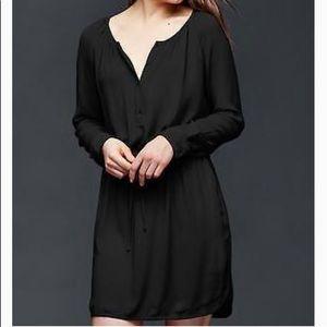 Gap Black Long Sleeve Shirt Dress Buttons Up